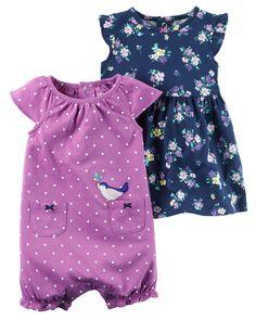 Ensemble robe et barboteuse 3 pièces pour bébés filles | Carter's OshKosh Canada