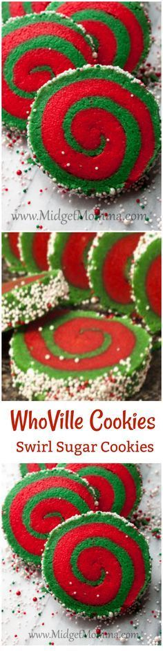 These Whoville cookies are a great take on a yummy sugar cookie. Red and green make these cookies festive and fun for christmas.
