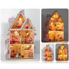 Kits dream DIY Wood Dollhouse with light miniature and Furniture large villa