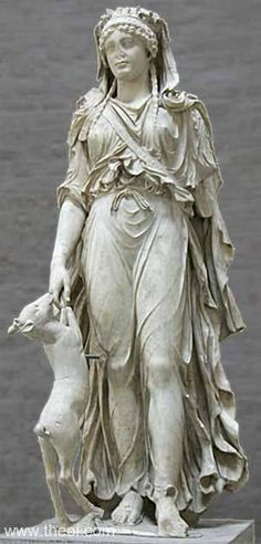 "Artemis with a hunting dog. Staatliche Antiksammlungen und Glyptotech, Munich, Germany. ""To the Moon Goddess I am your servant, Artemis. You draw your long bow at night, clothed in the skins of wild beasts. Now hear our beautiful singing."" Alcman of Sparta c. 625 BCE."