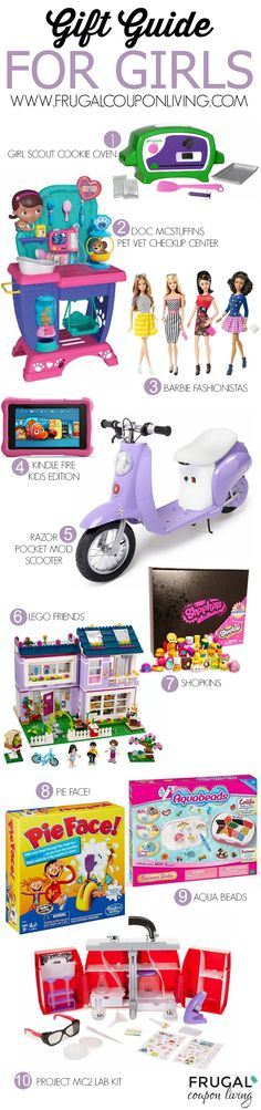 Gift Guide for Girls on Frugal Coupon Living including Doc McStuffins, LEGOs, Girl Scout Cookie Oven, Barbie Fashionistas, Pie Face, MC2, Kindles and more! Gift ideas for girls. Christmas gift ideas. Gift Guides.