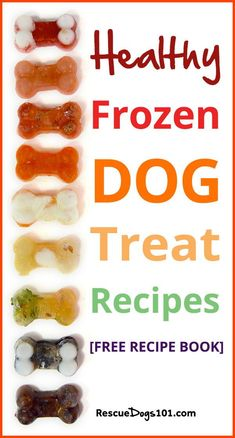 Fun and Healthy, Homemade Frozen Dog Treat Recipe Booklet. 7 different recipes, including Patriotic Red White and Blue, Watermelon, Pupsicles, PB&J, Halloween Candy Corn, Pumpkin Carrot #frozentreats #dogtreats #fresh #summertreats #homemadetreats #rescuedogs101