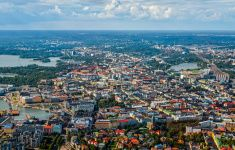 Aerial view of Helsinki city stock photo City Landscape, Helsinki, Photo Illustration, Aerial View, Travel Guides, Finland, Paris Skyline, Stock Photos, Landscapes