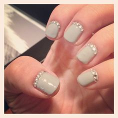 gray nails and gems (: