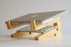 new bamboo puzzle laptopstand by greentunadesign on Etsy