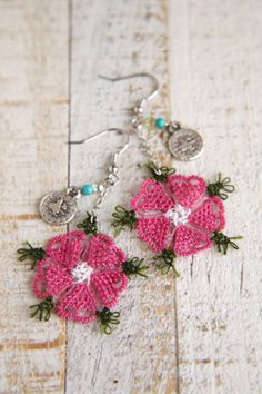 oya needle made lace earring