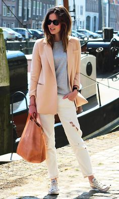peach blazer and torn white jeans {casual & cute}