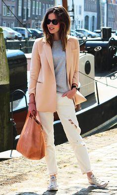 peach blazer and torn white jeans {casual & cute}