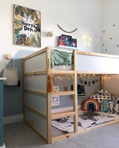 This low bed is perfect for younger children, but also grows with them. Boy Toddler Bedroom, Toddler Rooms, Ikea Kids Bedroom, Kid Bedrooms, Child Room, Boys Bedroom Ideas Toddler Small, Toddler Cabin Bed, Toddler Beds For Boys, Boys Shared Bedroom Ideas