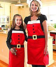 Xmas Christmas Decorations Mrs Santa Holiday Party Costume Kitchen Bib Red Apron