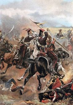 Polish Light Horse v Austrian Uhlans at the Battle of Wagram (they adopted the lance after this action).