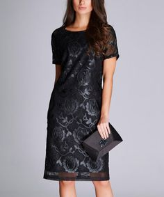 Black Floral Shift Dress #zulilyfinds. I am such a big fan of the way shift dresses drape my body. I really love the color pattern and style of this one.