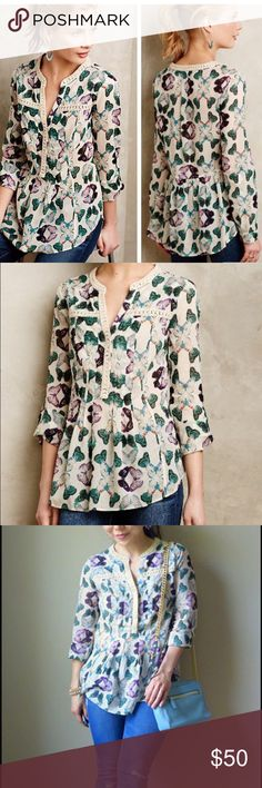 Gorgeous Anthropologie blouse Gorgeous tunique by Anthropologie's. Amazing Butterfly print.  100% cotton. Size 10. In excellent condition. Anthropologie Tops Blouses