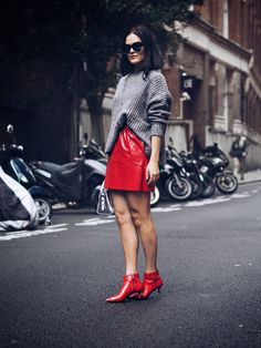 How to wear vinyl red skirt street style