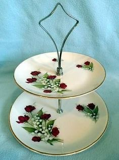 Vintage Cake Plates, Two Tier Cake, 2 Tier Cake