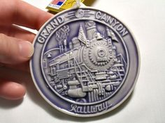 Grand Canyon Railway Ornament Collectible American Souvenir HP Pottery Purple