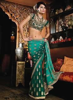 Green sari with zardosi embroidery.