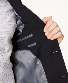 abb22226a13 Bar Iii Men s Skinny Fit Stretch Wrinkle-Resistant Black Suit Jacket