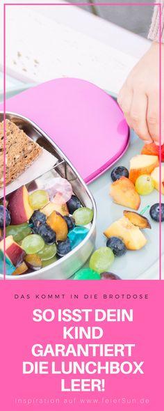 Du brauchst Inspiration dafür, was Du dem Kind in die #Lunchbox packst, damit es den Inhalt der #Brotdose auch isst? Dann hab ich hier viele Ideen, die auch wirklich gegessen werden. Das kommt bei uns rein und so isst Dein Kind seine #Brotbox leer! #Schule #KiGa #Kindergarten #gesundesEssen #Frühstück auf feierSun.de