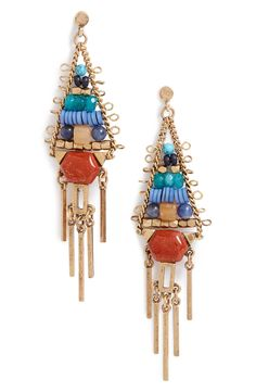 Beaded Fringe Chandelier Earrings