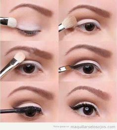 Simple and cute white eye shadow with wing.