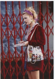"Drew Barrymore "" on the set of Wishful Thinking (1997) "" - notice the see through bag"