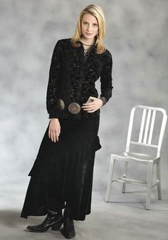 Black Crushed Velvet : Womens Western Long Skirt | Free Shippin on Western Shirts