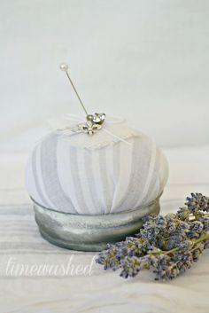 Pin cushion made from zinc Ball jar lid.