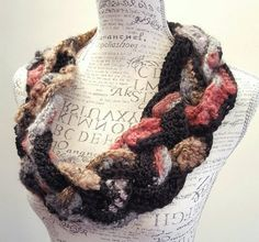 Crochet disheveled braided Cowl. Infinity Cowl. Braid by BeadGs