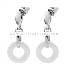 New Fashion White And Black Ceramic Earrings With Stainless Steel Party Jewelry Accessories For Women