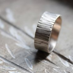 Tree Bark wedding band, recycled 14k white gold from Tinahdee