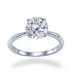 "1.00 carat E/SI2 ""Lioness"" Art Deco Classic 4 Prong Round Brilliant Cut 14k Diamond Solitaire Engagement Ring"