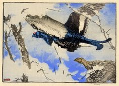 """Allen William Seaby (British: 1867 - 1953): Blackcock and Greyhen; color woodcut; 1924; Reference: Giles OCPM 1924 #1; pencil signed, artist's monogram and editioned: 221/500; printed on heavy laid hosho paper; published by Original Color Print Magazine, William Giles, publisher; 4-7/8 x 6-15/16"""" image size."""