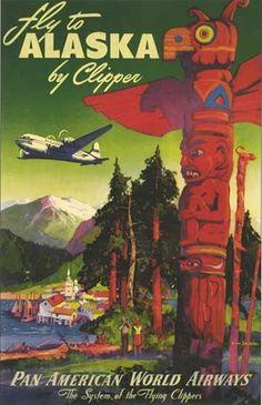 Vintage 1950s Pan American Airlines Alaska Travel Poster