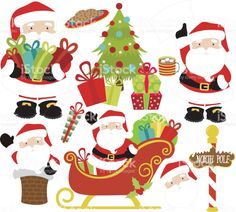Lindo Papai Noel e presentes vetor e ilustração royalty-free royalty-free