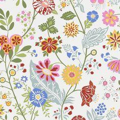 Amelie - Green wallpaper, from the Flora Sandbergica collection by Sandberg Green Wallpaper, Flower Wallpaper, Wall Wallpaper, Wallpaper Patterns, Amelie, Textures Patterns, Print Patterns, Spring Drawing, Flower Doodles