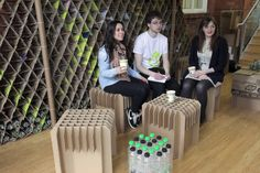 Students at Newcastle University recently teamed up with engineers and architects to build a pop-up café made entirely from recycled plastic bottles and cardboard boxes.