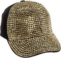 24bd46f10ad Crystal Case Womens Cotton Gold Rhinestone Studded Baseball Cap Hat  (Black Gold) at Cheapcapssmall Women s Hats   Caps store