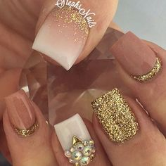Glittery Prom Nails with Jewels and Gold Glitter. (scheduled via http://www.tailwindapp.com?utm_source=pinterest&utm_medium=twpin&utm_content=post20857606&utm_campaign=scheduler_attribution)