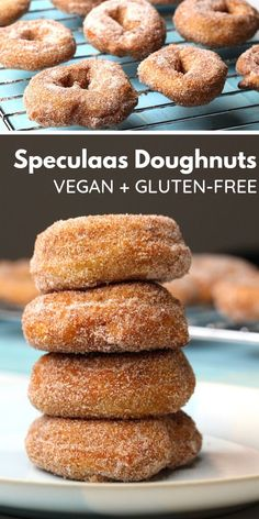 recipes breakfast These Vegan and Gluten-Free Speculaas Doughnuts are a delicious sweet treat. These Vegan and Gluten-Free Speculaas Doughnuts are a delicious sweet treat. They& rolled in a speculaas sugar mix, or can be rolled in cinnamon sugar! Desserts Végétaliens, Desserts Sains, Healthy Dessert Recipes, Gourmet Recipes, Baking Recipes, Vegetarian Appetizers, Free Recipes, Vegetarian Recipes, Patisserie Sans Gluten