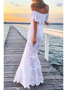White Lace Slash Neck Maxi Dress - WHITE S Mobile