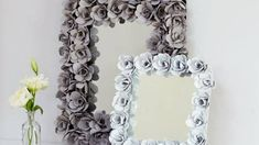 Make a mirror with a flower design that is made out of none other than egg cartons.
