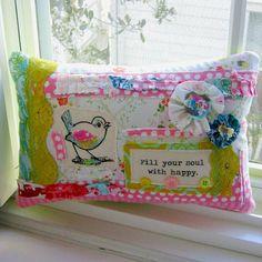 Bird Pillow Flower Pillow Patchwork Pillow Fabric by tracyBdesigns