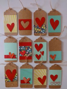 50 Unique Ideas for DIY Valentine's Day Bookmarks Every Bookworm Will Love Handmade Gift Tags, Paper Tags, Scrapbook Embellishments, Christmas Tag, Card Tags, Valentines Diy, Crafts For Kids, Paper Crafts, Bookmarks