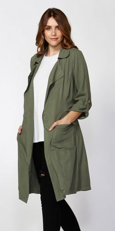 SASS- HAILIE LONGLINE TRENCH JACKET- SAGE Trench Jacket, Classic Chic, Long A Line, Military Jacket, Cover Up, Sleeves, Jackets, Fashion, Down Jackets