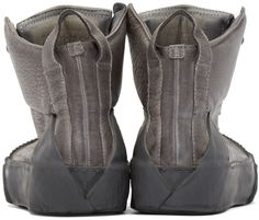 Boris Bidjan Saberi: Grey Leather Bamba 1 High-Top Sneakers | SSENSE