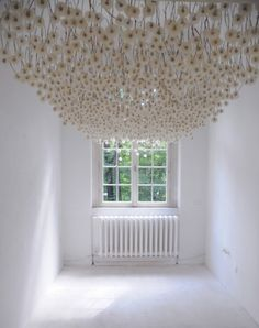 Regine Ramseier apparently sprayed 2,000 blooming dandelions with some substance which caused them to retain their seeds. Then she stuck them in straws and attached them to panels, which she hung from the ceiling of a room.