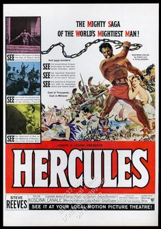 1959 Hercules movie release Steve Reeves and cast art vintage print ad | eBay