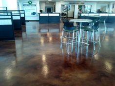 Stained Car Dealership Floor, Commercial Floors - Baker's Decorative Concrete in Grand Prairie, TX