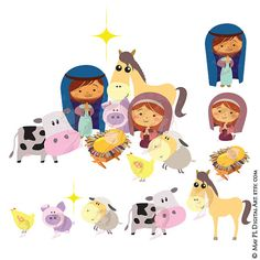 Christmas Nativity Stable Scene Baby Jesus Christ Birth Manger with Mary Joseph and Barn Animals Clipart Cute Xmas Story Graphics 10528 #Christmas #Nativity #Stable #Scene